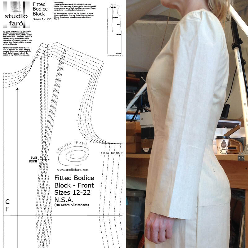 Fitted Dress Block - Sizes 6-22 (PDF download)